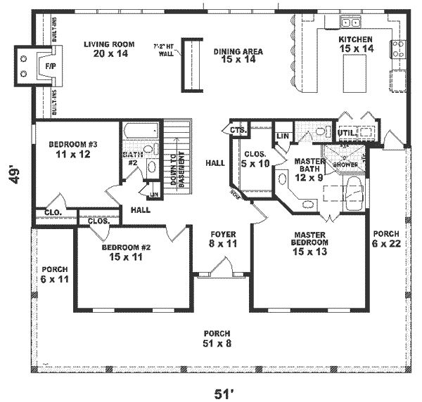 1800 square foot house plans home floor plans 1800 sq ft 4 for Beach house plans under 1500 sq ft