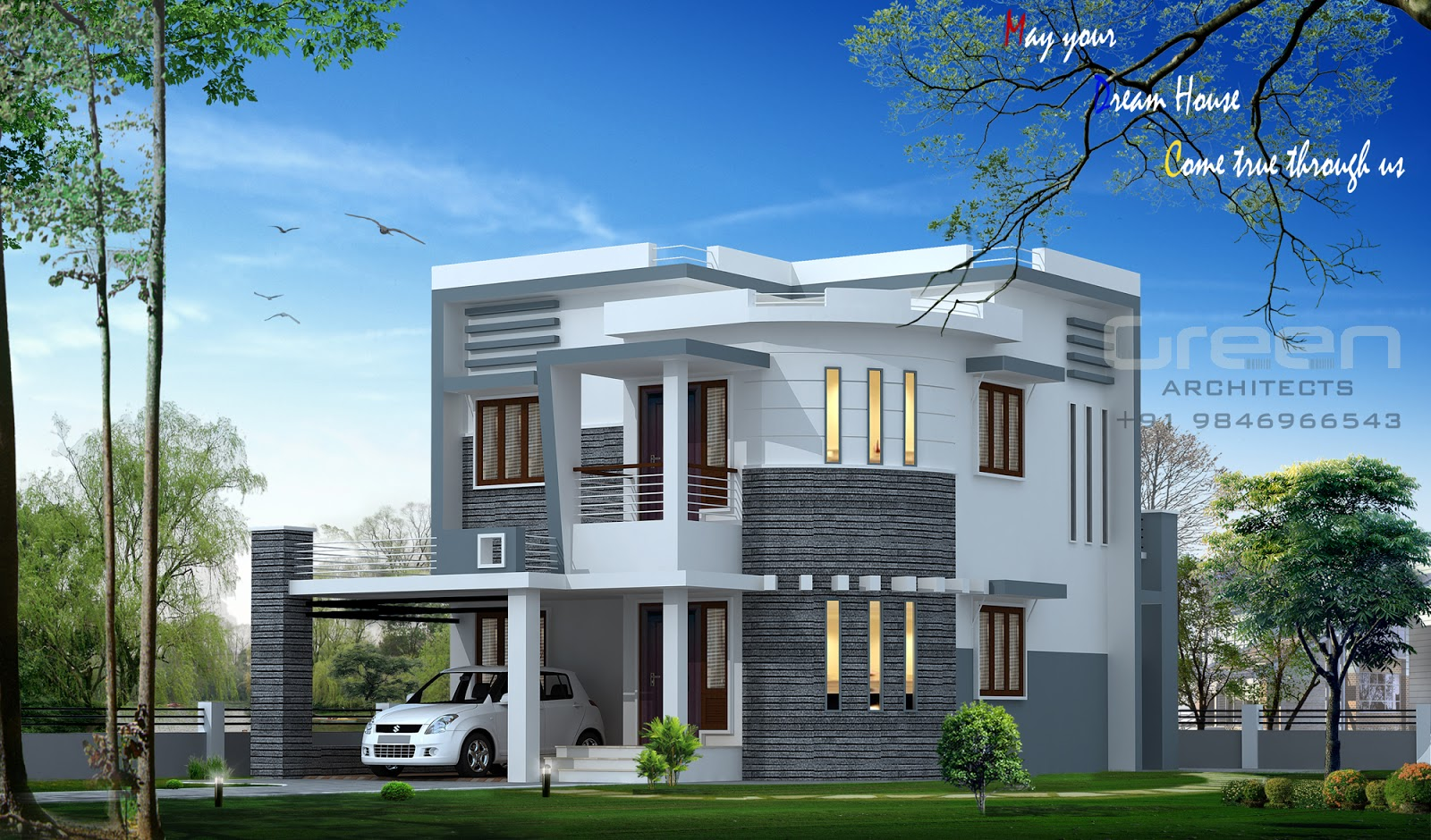 Beautiful 3 bedroom house design southern houses 3 bedroom - Beautiful front designs of homes ...