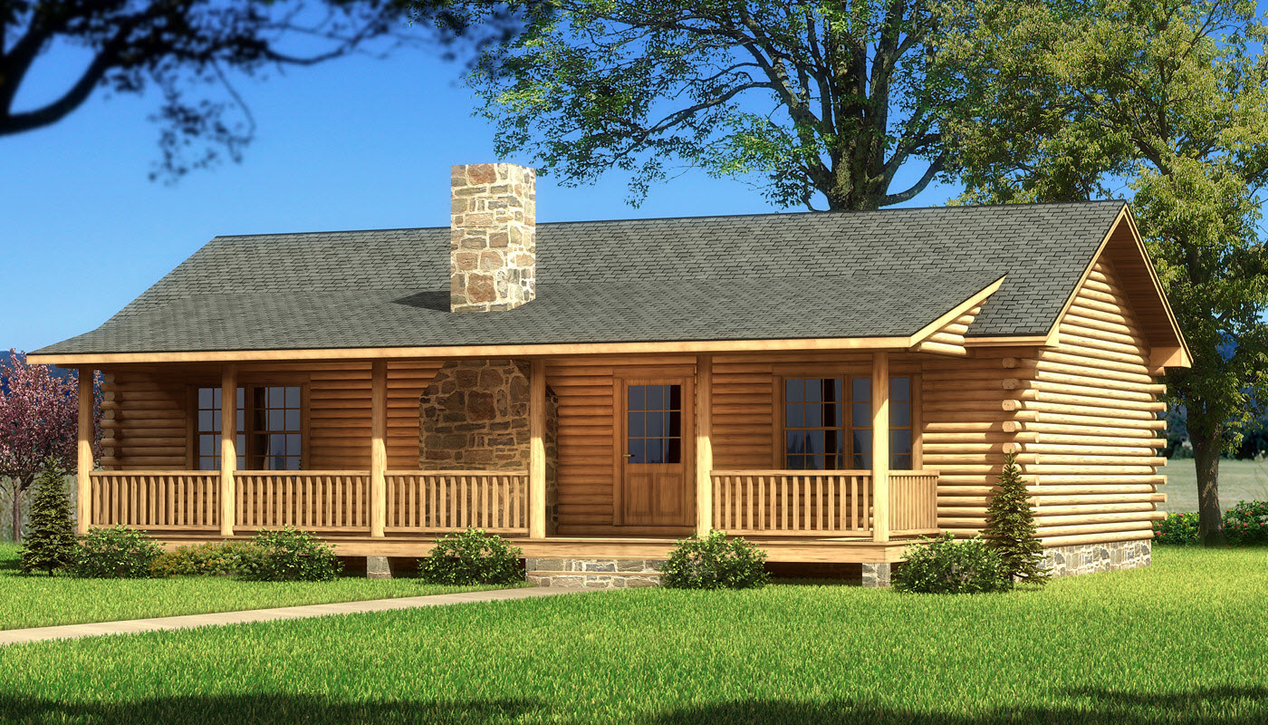Single Story Log Cabin Homes 1-Story Log Home Plans