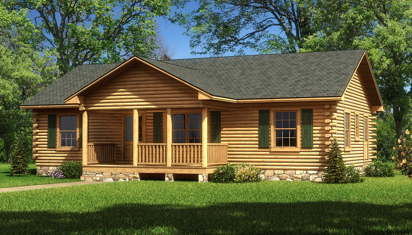Single story log cabin homes single story log cabin homes for Three story log cabin