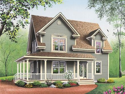 Two Beds Small Farmhouse Plans with Porches