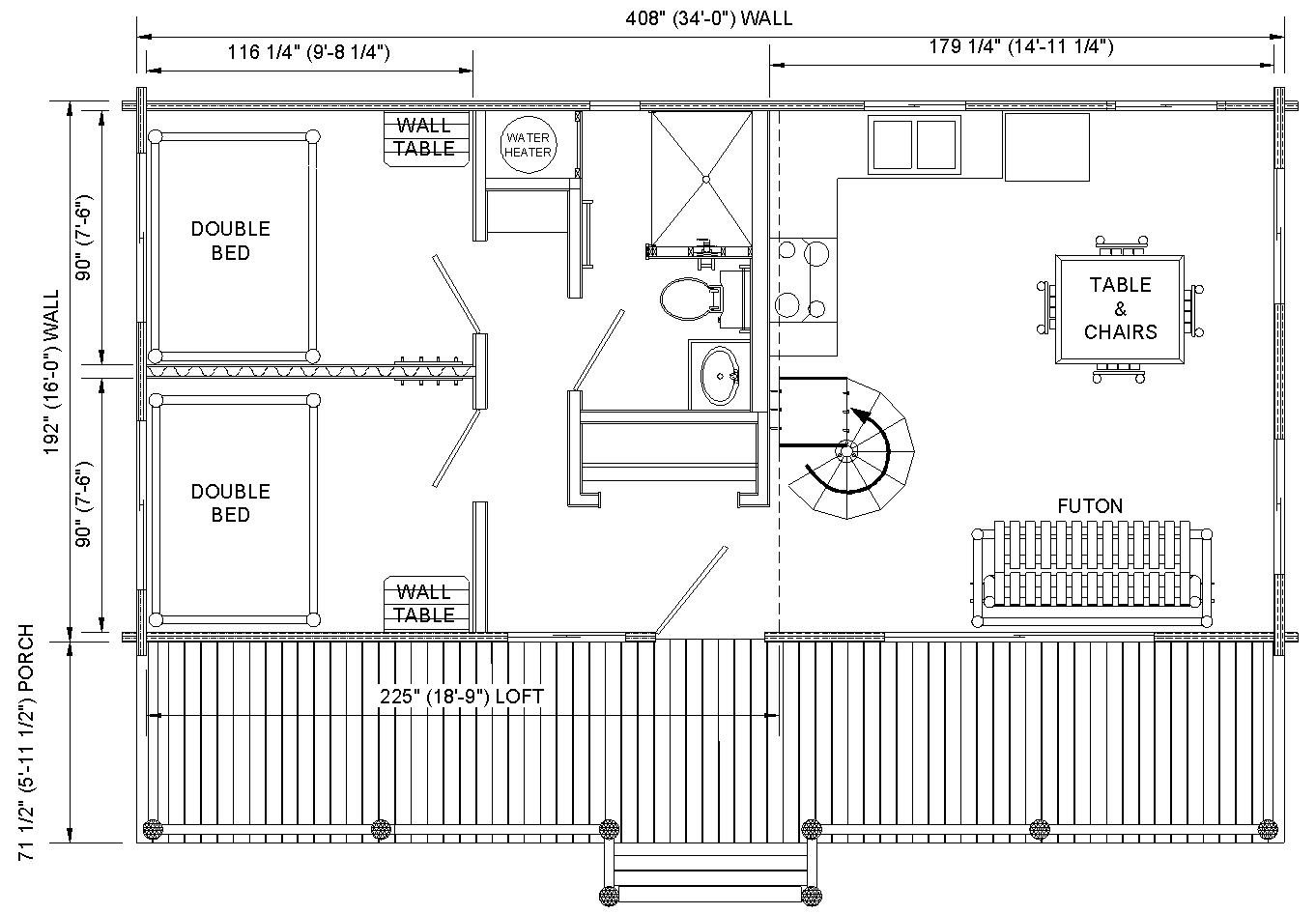 Rustic cabin floor plans cabin floor plans with loft 16 x for Rustic home plans with loft
