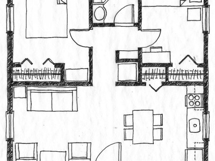 Two Bedroom House Simple Plans Tiny House Bedrooms
